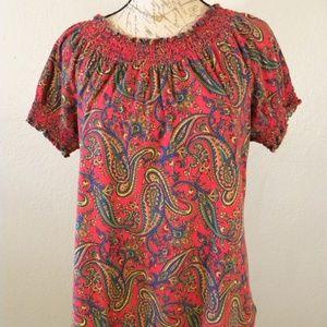 Lauren Ralph Lauren Blouse XL Smocked Paisley Red
